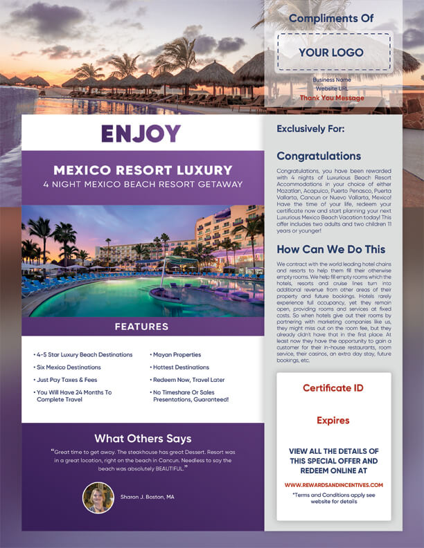 Luxurious 4 Night Mexico Vacation Getaway