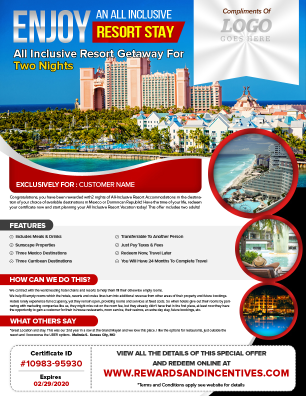 ALL-INCLUSIVE RESORT STAY GETAWAY